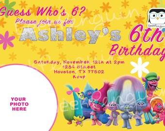 Trolls Birthday Invitation, Trolls Invitation, Trolls Birthday Party, Trolls Party Invitation, Trolls Poppy party
