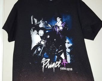 Prince Purple Rain Memorial t-shirt size Large bleached and faded