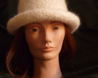 Rolled Brim Felted Hat - White