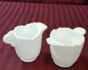 Miniature milk glass sugar and creamer set.  English hobnail