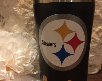 Pittsburgh Steelers Personalized Double Wall Insulated Yeti-Like Stainless Steel Tumbler