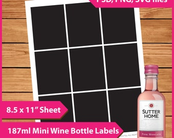 Mini wine bottle labels etsy for Etsy mini wine bottle labels
