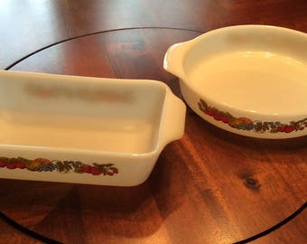 ON SALE:  Vintage Anchor Hocking Fire-King Nature's Bounty 2 Piece Ovenware Set, Made in the U.S.A.