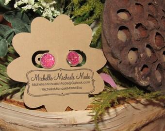 Medium 10mm Pink Sparkle Earrings