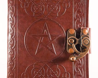 Wiccan pentacle journal with handmade paper.