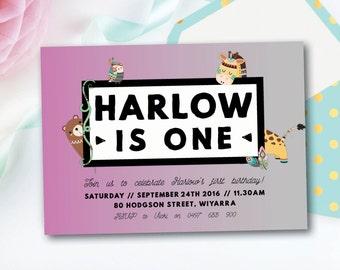 Girl birthday invitation, animal birthday invitation, girl birthday, invite, invitation, animal, zoo, pink, 1st, 2nd, 3rd, 4th, 5th (Harlow