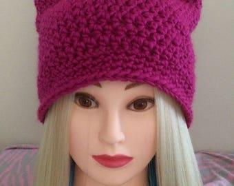 Pink Cat Hat in Fuchsia