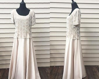 Stenay Vintage 1980's/1990's Beaded Champagne Evening Gown / Vintage Wedding Dress / Vintage Formal Gown