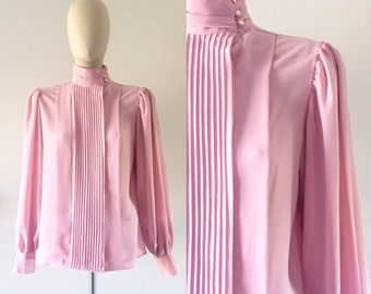 vintage 1980s blouse・high neck・pearl buttons・FREE SHIPPING