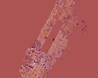 Manhattan abstract map red/blue