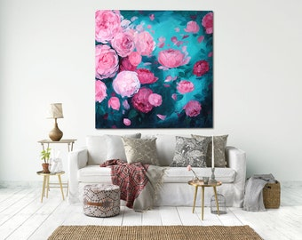Large Abstract Flowers, Canvas Art Painted Original Oil Painting XL  size contemporary art