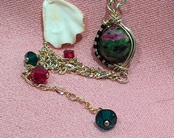 Ruby in zoisite/Swarovski crystal/sterling silver wire weaving/ tassel necklace