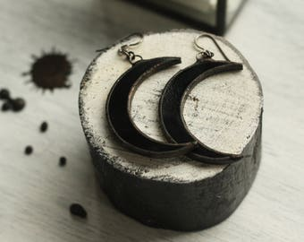 Crescent moon earrings, witch earrings, witch jewelry, moon earrings, occult earrings, gothic earrings, dark earrings, pagan earrings, witch