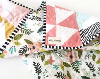 Pink Puzzlecloth Modern Wholecloth Baby Quilt-Modern Baby Girl Quilt-Baby Quilt Blanket-Floral Baby Quilt, Boho Baby Quilt, Indie Baby Quil