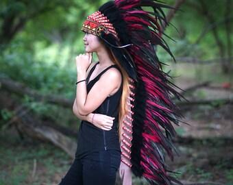 COSTUME HEADDRESS, Native American Headdress, Indian Warbonnet, Bohemian Costume, Halloween Costume, Feather Headband
