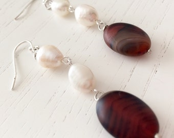 Pearl and agate earrings