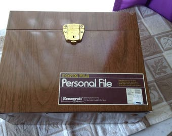 Metal Faux Wood Pattern Lockable Vintage File Box With Key Personal Lockable Portable Filing Cabinet Porta File