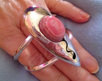 Native American Silver Cuff with Rhodochrosite