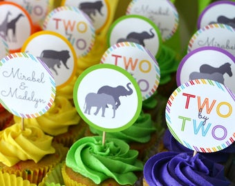 Noah's Ark Cupcake Toppers, Two by Two, Baby Shower or Birthday Party Circles, Twins - Rainbow - Personalized, Printable