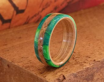 Wooden Ring Whiskey barrel wood ring with Green accents - Bentwood Ring Men Wood Wedding Ring  Woman Engagement Ring Anniversary