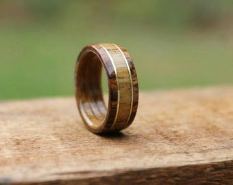Teak Wood Ring - Honduran  Rosewood Wedding Band Wood Ring  Wooden Ring Men Engagement Ring Woman Anniversary Ring