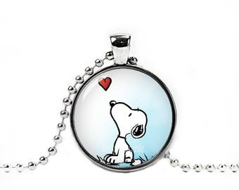 Snoopy  Necklace Pendant Snoopy Heart Jewelry Snoopy Round Pendant Fangirl Fanboy