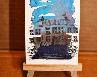 Waterfront, ACEO, Artist Trading Card, Original Art, Watercolour and Ink, Isle of Mull, Tobermory .