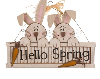 "ESE Wooden Bunny Shutter Wall Sign "" Hello Spring"" wall/door hanging Easter decoration"