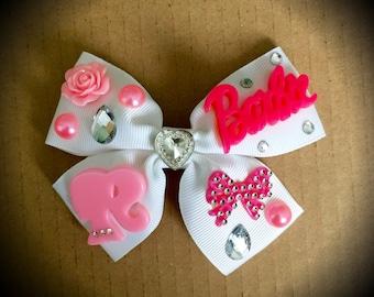 Barbie Pink and White Rhinestone Hair Bow