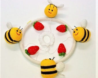 Baby Mobile Crochet Bees - Bumble Bee & Strawberry Floating Baby Mobile Cot Bedroom Module - Crochet Baby Mobile