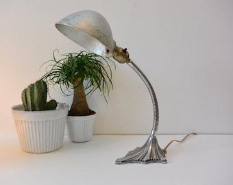 Vintage Art Deco Gooseneck Lamp / Desk Lamp / Table Lamp 1930s Chrome Base Monowatt