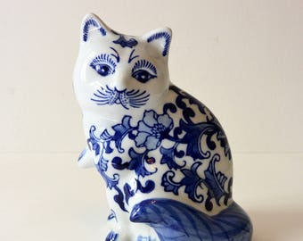 Vintage Porcelain Cat Figurine, Blue and White Floral Hand Painted Vintage Cat Figurine