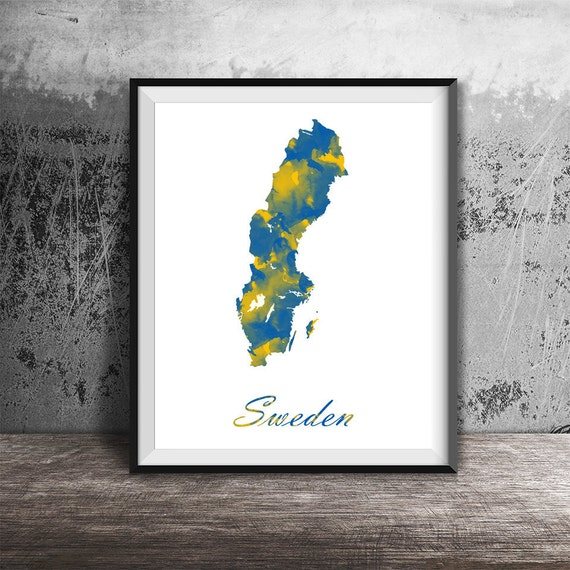 Sweden Map Printable Sweden Watercolor Art Printable Sweden - Sweden map printable