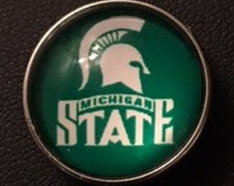 Support Michigan State!  20mm Snap that Fits all 18mm Snap Jewelry