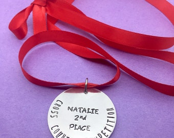 Personalised Medal, Medallion, Medal, Reward, Achievement, Red Ribbon, Award, Custom, Personalised, Any Wording, Personalised Award,