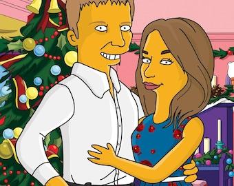 Simpsons portrait, Custom YELLOW Character Portrait from your Photo, family portrait, portrait from photo, simpsons art, cartoon portrait