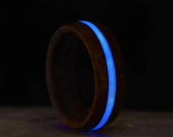 Glow in the Dark Wooden Ring with Blue Glow, Made From Cherry Wood and Luminescent Pigment