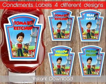 Paw Patrol Condiments Labels Paw Patrol Condiment Labels Digital File Paw Patrol Birthday Condiments Label INSTANT DOWNLOAD