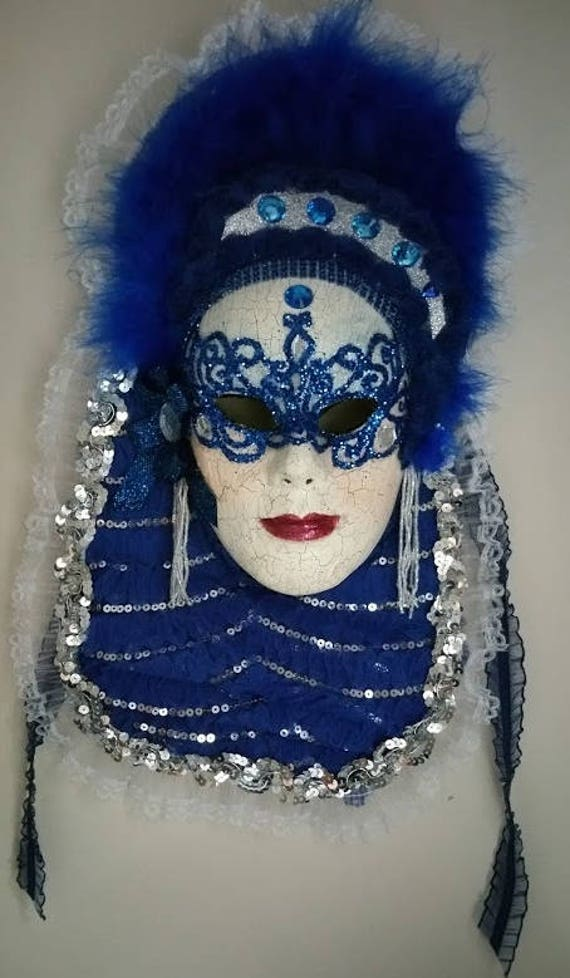 """Handcrafted, One of a Kind, Originally Designed, Paper Mache Mask, """"Lady in Blue"""" Created by Maskweaver, Soraya Ahmed"""