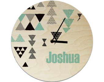 Geometric Triangle Tribal Personalised Childrens Clock / Kids Clock