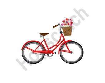 Red Bicycle And Flowers - Machine Embroidery Design