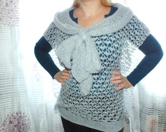 waistcoat gray mohair soft cosy knitted