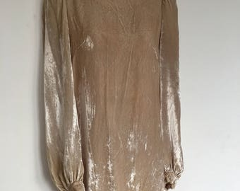 French Connection 90's Exotic beige boho velour party Occassion mini Dress uk 8