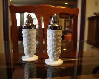 Westmoreland Salt & Pepper Shakers White Milk Glass Marked Paneled Grape – Mid Century