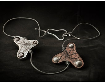"""Necklace """"you and I"""" unisex hand made silver law and copper"""