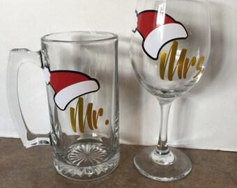 Mr.snd Mrs. Beermug&wine glass