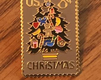 Vintage Christmas Tree Postage Stamp Lapel Pin