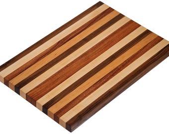 Walnut, Maple, Mahogany and Cherry Striped Cutting Board