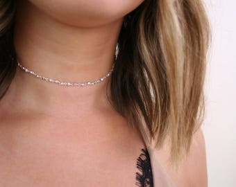 Silver Dainty Choker Necklace- Simple Silver Choker, Silver Chain Choker, Silver Dainty Choker, Dainty Choker, Silver Choker