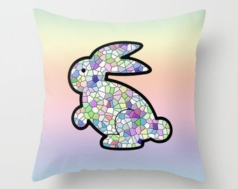 Bunny Pillowcase, Pillow Cover, Easter Bunny, Bunny Decor, Mosaic Pillow, Nursery Decor, Pastel Pillow, Pastel Decor, Children's Room, Baby